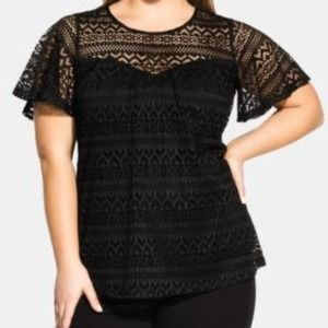 City Chic Serenity Top Lace Blouse Black Size 20